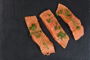 Raw Salmon with Seasoning