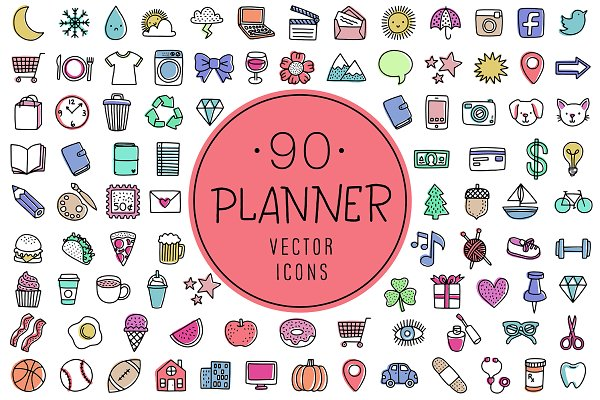 90 Planner Icons | Vector & PNG