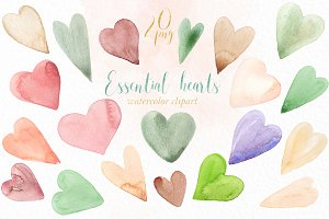Essential hearts. watercolor clipart