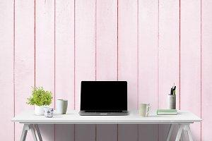 pink white desk mockup