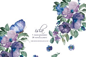 Watercolor Purple Florals Set
