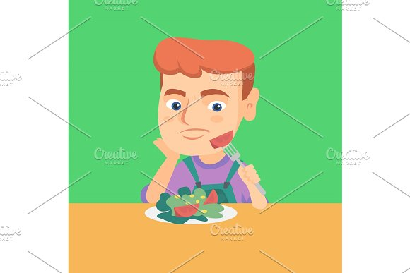 Boy Refusing To Eat Salad With Healthy Vegetables