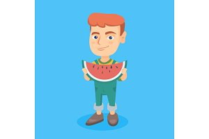 Young caucasian boy eating delicious watermelon.