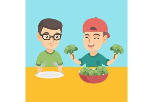 Two caucasian boys eating broccoli.