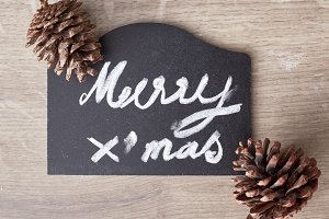 merry christmas text sign with pine