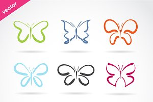 Vector group of hand drawn butterfly