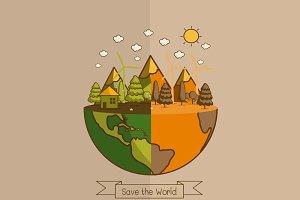 Different of world Vector illustrati