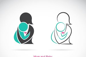 Vector icon of a mom and baby.
