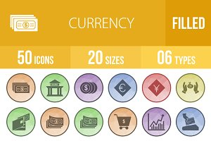 50 Currency Filled Low Poly Icons