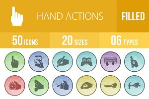 50 Hand Action Filled Low Poly Icons