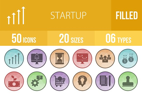 50 Startup Filled Low Poly Icons