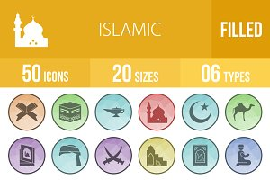 50 Islamic Filed Low Poly Icons
