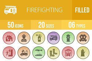 50 Firefighting Filled Low Poly Icon