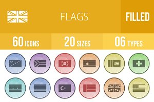60 Flags Filled Low Poly Icons