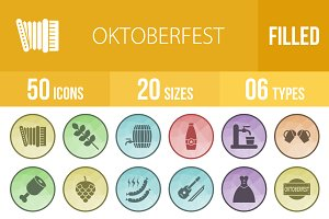50 Oktoberfest Filled Low Poly Icons