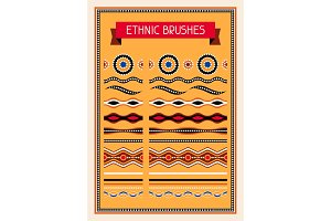 Ethnic pattern brushes. Australian traditional geometric ornament.