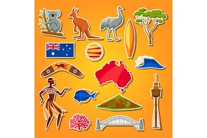 Australia icons set. Australian traditional sticker symbols and objects
