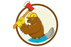 Beaver Lumberjack Wielding Ax Circle