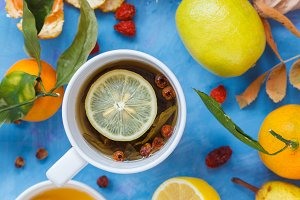 Winter tea with honey and lemon.