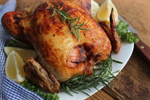 Roasted chicken with herbs and lemon
