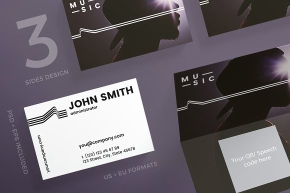Business Cards Music Business Card Templates Creative Market
