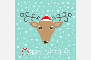 Reindeeer head. Merry christmas.
