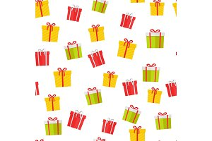 Colorful Giftboxes Vector Cartoon Seamless Pattern