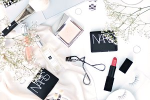 BEAUTY FLATLAY with white & silver