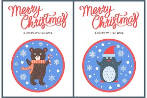 Merry Christmas and Happy Winter Days Bear Penguin