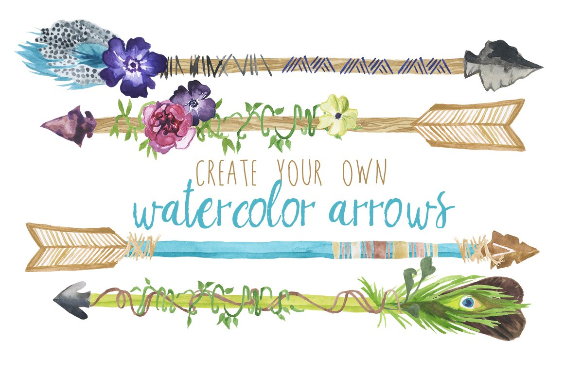 create your own watercolor arrows illustrations creative market. Black Bedroom Furniture Sets. Home Design Ideas