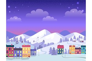 Christmas Town with Decorated Houses and Hills