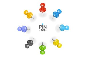 3d Color Pins Icons Set.