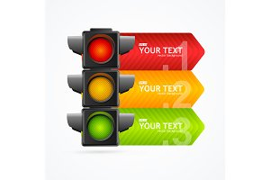 3d Road Traffic Light Banner Card