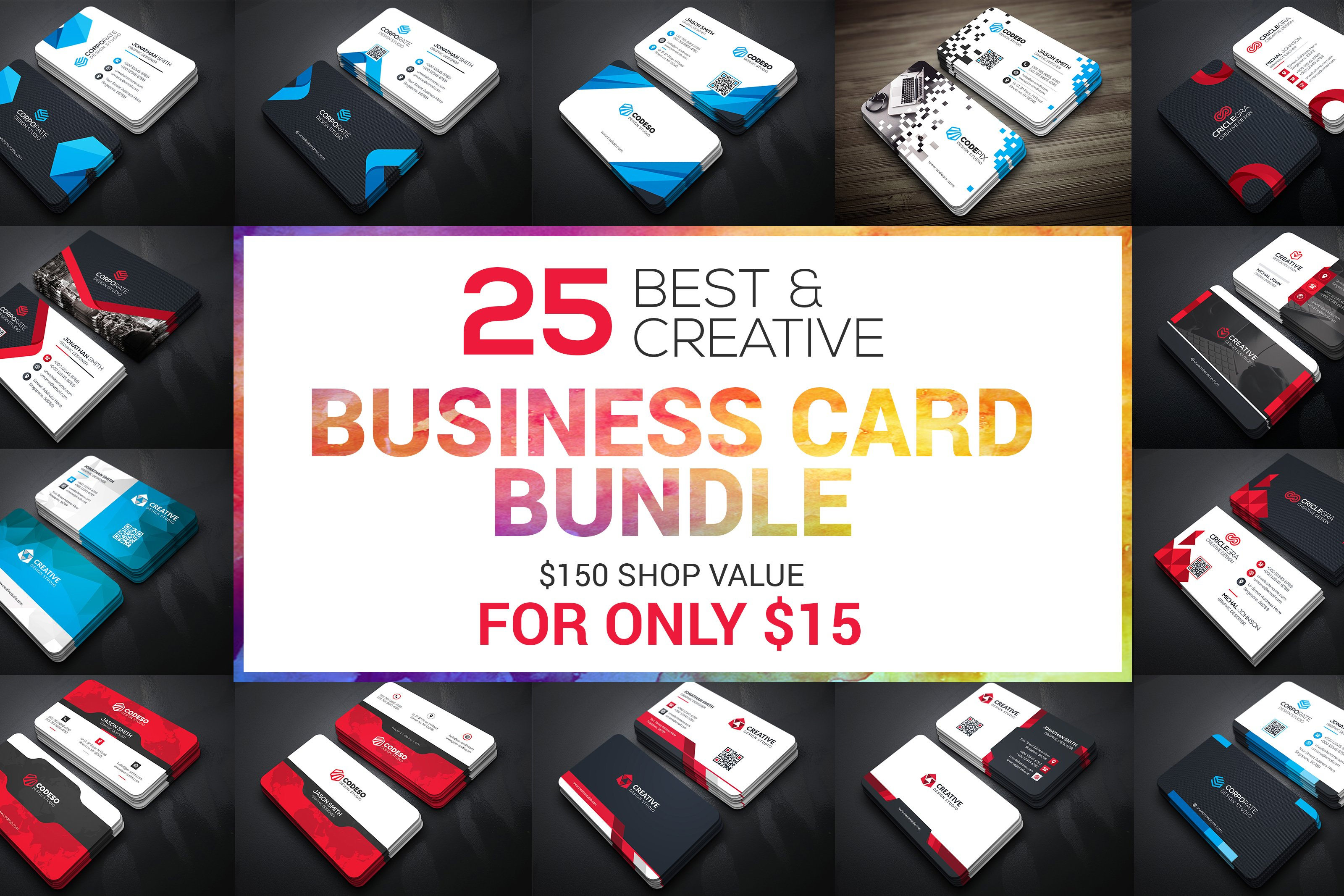 25 Business Card Bundle ~ Business Card Templates ~ Creative Market