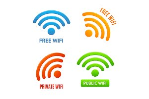 3d Color Wifi Signs Icons Set.