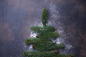 Christmas tree from a fir branches