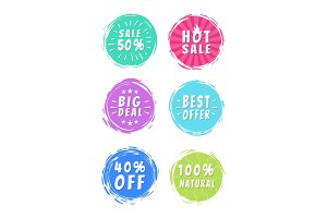 Sale 50% Best Choice Special Offer Promo Stickers