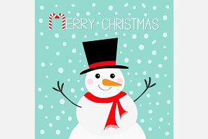 Merry Christmas Snowman, red scarf.