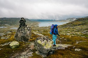 Girl with backpack in Norway