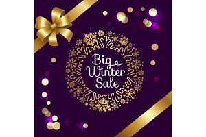 Big Winter Sale with Bokeh Vector Illustration