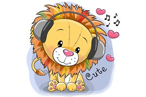 Cute cartoon Lion with headphones and hearts
