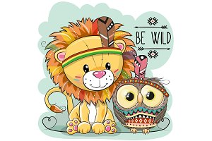 Cute Cartoon tribal Lion and owl