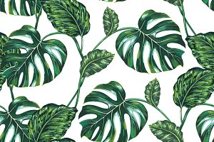 Tropical leaves tree pattern