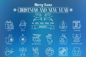 Outline Icons Christmas and New Year