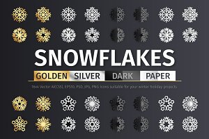 Golden and Silver Snowflake Icons