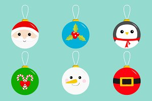 Christmas ball toy icon set Greeting