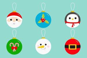 Christmas ball toy icon set Greeting