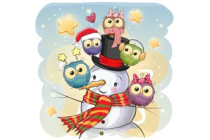 Snowman and five Cute Cartoon Owls