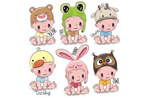 Set of Cute Cartoon Babies