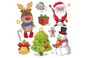 Set of Cute Christmas design elements